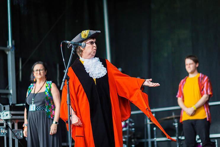 Mayor on stage